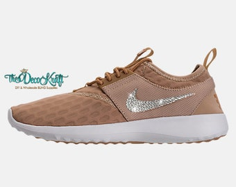 Custom Bling Womens Nike Juvenate Mushroom/Elemental Gold/Summit White  Swarovski Crystal Bling Sneakers