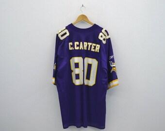 Minnesota Vikings Jersey Cris Carter Reebok Jersey Carter Vikings Reebok NFL  Team Replica Activewear  80 Mens Size 2XL 1d4b2a877