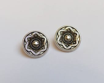 set of 4 silver metal buttons * flower * 1.5 cm