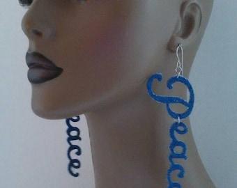 Peace Denim Fabric Earrings, Fabric Earrings, Women Earrings, Fabric Jewelry, Peace Earrings, Word Earrings, Holiday Earring