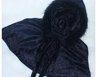 Fur Trim Hooded Crushed Velvet Capelet - ONE SIZE - Toddler/Child