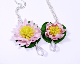 lotus necklace pink jewelry crystal polymer clay water lily flower jewelry daughter gift girlfriend fairy necklace minimalist necklace FJ52