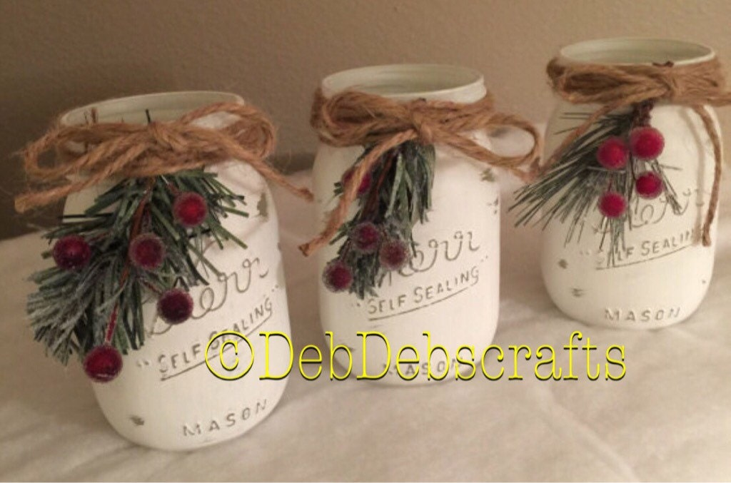 Rustic Christmas Decor Mason Jars Home