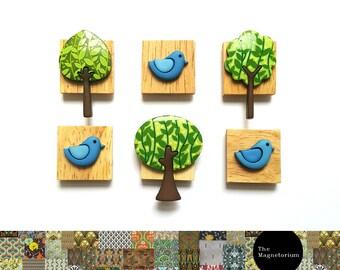 Bird & Tree Magnets [Fridge Magnets, Fridge Magnet Sets, Refrigerator Magnets, Magnet Sets, Office Decor, Kitchen Decor, Magnetic Board]