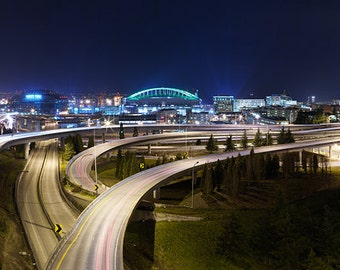 Seattle Washington at Night, 7x20 Panoramic Print Matted in a 24x28 Wood Frame