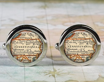 Pennsylvania cuff links, PA cufflinks wedding anniversary gift for groom gift men's gift groomsmen gift for best man Dad Father's Day gift