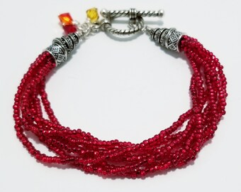 Ruby colored Czech beaded bracelet