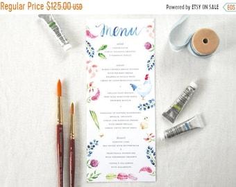 ON SALE Custom Watercolor Menu; Personalized Wedding, Dinner Menu, Hand-lettered Menu Design