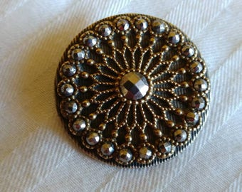 Antique Brass Filigree and with Steel rivets Button -Gorgeous design - 1 and 3/8th inch
