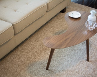 MidCentury Modern Side Table Walnut Kidney Bean Mini - Small mid century modern coffee table