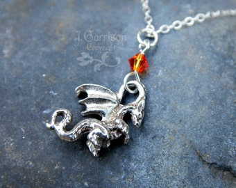 Winged Dragon necklace: fantasy charm pendant, fiery orange crystal on sterling silver chain - birthstone colors too- free shipping USA