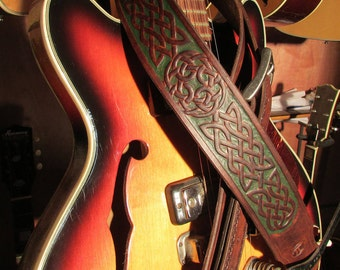 """Custom Hand Tooled Leather Celtic Guitar Strap, 2 1/2"""" Wide, Adjustable Made To Order"""