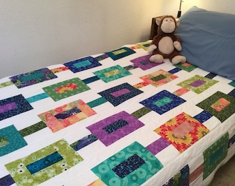 Rainbow Colors and White Modern Patchwork Cotton Twin Quilt