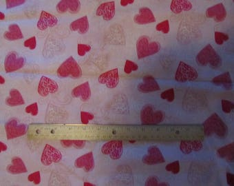 Pink with Pink/Red/White Valentine  Hearts Toss Cotton Fabric By the Yard