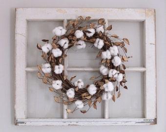 Cotton Wreath, Cotton Boll Wreath, Farmhouse Decor, Farmhouse Wreath, Front Door Wreath,  2nd Anniversary Gift, Wedding Decor