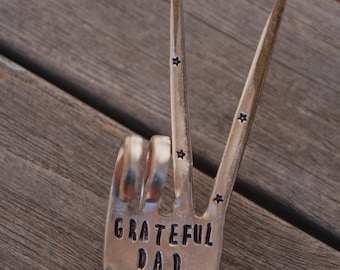 GRATEFUL DAD hand stamped Peace Sign Flower Pot house plant stake Made from Vintage Silver Plate FORK stars and Peace Sign stamp