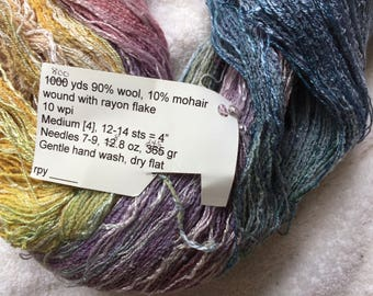 Hand Painted Yarn Wool/Mohair/Rayon Flake