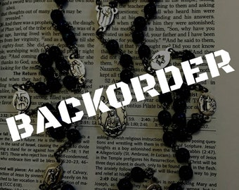 """BACKORDER - Seven Sorrows """"Servite"""" rosary with snowflake lapis beads"""
