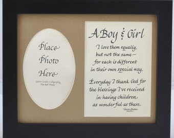 Father's Day, A Boy and A Girl, 1 Boy and 1 Girl Poem and Picture Frame 8x10 - mom dad gift - personalized an option