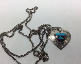 Sterling Silver heart turquoise inlay Zuni necklace.
