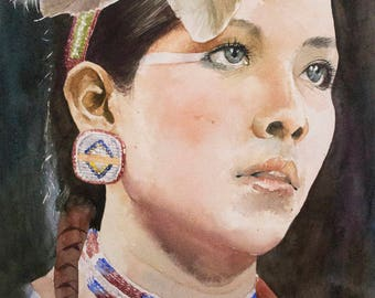 Custom Watercolor Portrait. Watercolor painting. Painting from a photograph.