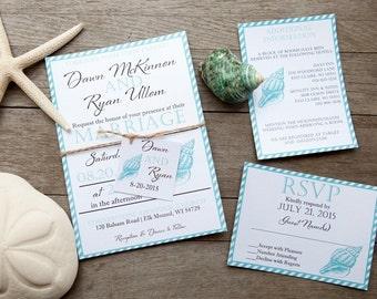 Beach Wedding Invitation, Destination Wedding Invitation, Sea Shell Wedding Invitation, Modern Wedding Invitation