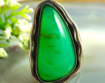 Statement Ring Chrysoprase Ring Sterling Silver Jewelry