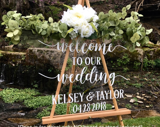 Welcome Wedding Decal Personalized Name and Date Simple Wedding Sign Decal for Acrylic Sign Wedding Rustic Welcome Wedding Vinyl Decal Only