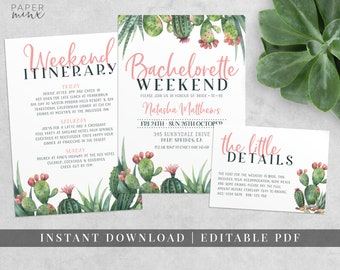 Cactus Bachelorette Weekend Invitation | Bachelorette Itinerary | Cactus Invitation | Palm Springs Fiesta | Hens Weekend | Hens Itinerary