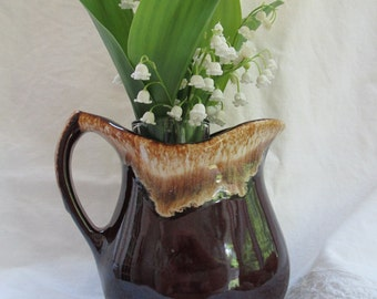 Roseville Pottery Pitcher-Small Brown Drip Roseville Pottery U.S.A. Pitcher-Collectible American Country Pottery-Cream or Milk Pitcher