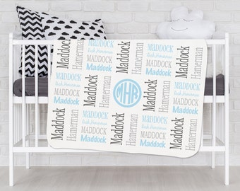 Baby Blanket Personalized Baby Blanket Name Baby Blanket Receiving Blanket Monogram Blanket for Baby Boys Baby Gifts Nursery bedding