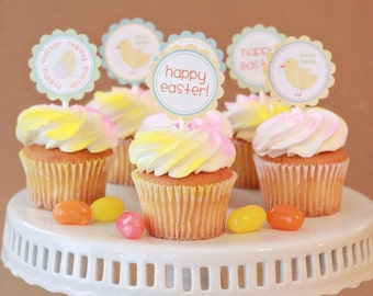 Instant Download-Easter Cupcake Toppers/Circle Labels - Printable PDF