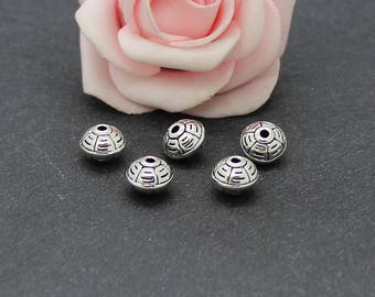 20 beads in antique silver 9 x 7 mm PMA116