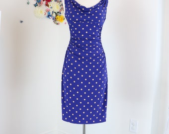 1990s Dress - Polka Dot Fitted Midi Wiggle Dress - Designer Ralph Lauren - Sleeveless - Purple - Ruched Waist Open Neck - Size XS Small