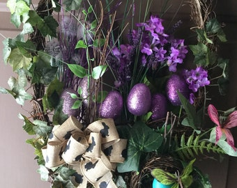 Easter wreath,Purple Easter wreath,Easter basket wreath, Easter basket purple eggs wreath, Easter wreath purple love