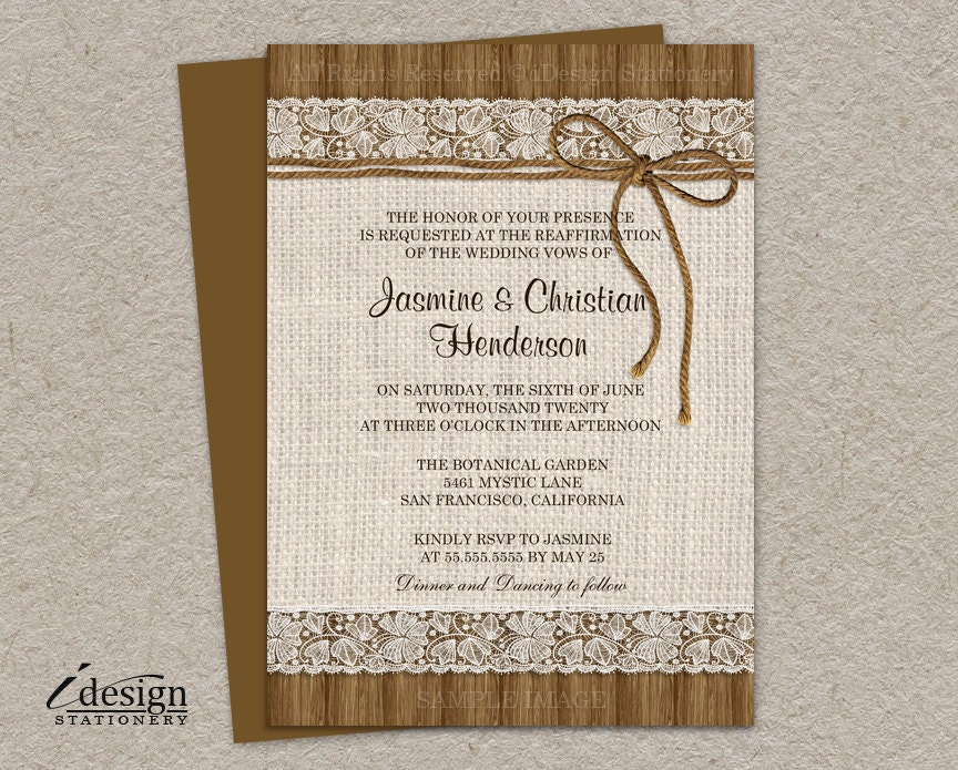 Wedding vow renewal invites image collections invitation templates diy printable rustic vow renewal invitations with burlap and stopboris Images