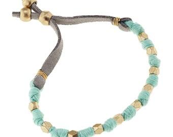 Fabric Slide Bead Bracelets {Aqua}
