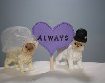 Small Animal Bride and Groom; Cat Cake Topper; Mr and Mrs; Wedding Cake Topper; Top of the Cake; Wedding Figurines; Figurines