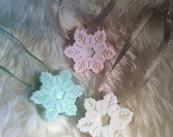 Two Sides Christmas Snowflake Soap With Hanging Ribbon/ Pastel Color