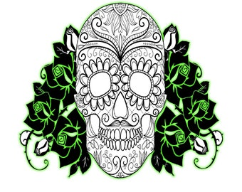 Glow Skull and Roses/Spiral Tree Shape-Digital Clipart-Halloween--T Shirt-Jewelry-Day of the Dead-Skull-Roses.
