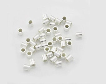 Heavy Wall 2x2 Sterling Silver Crimps, .925 Crimp Bead Tubes, 100pc Tubes, Made In USA, Thicker Crimp Tubes, Stronger Silver Crimps