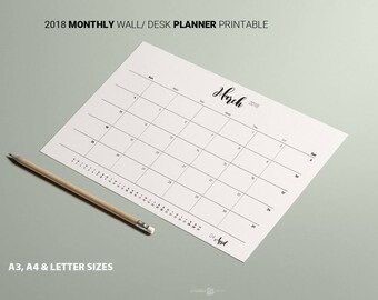2018 Printable MONTHLY Planner. SUNDAY week Calendar. Minimalist Black white Planner A3 A4 Letter  Business Planner Family Calendar Desk