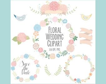 Floral clipart, wedding clipart, Digital Wreath,  Flowers, Ribbons, birds, laurel