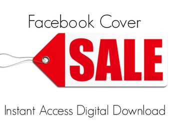 Facebook Cover Digital Download, Red Sale Tag, Instant Access, Pre-made Facebook Cover, Facebook Cover Photo, Clean Lines, Minimalist
