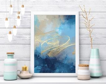 Blue Gold Abstract Art, Fractal, Fractal Art, Fractal Art Print, Best Original Art, Extra Large Posters, Blue gold Painting, Poster Print