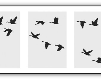Triptych of Flying Birds in Black&White Counted Cross Stitch Pattern PDF Chart Unique Original Modern Design