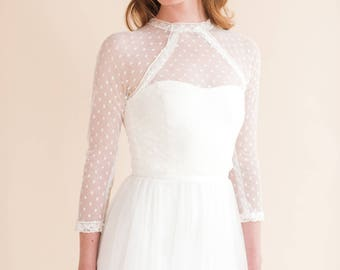 FOX TOP  a delicate and feminine spotted tulle top with beautiful vintage style trims