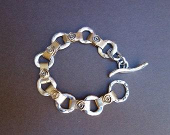 Silver and Gold Bronze  Chunky Artisan Link Bracelet