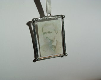 Personalized Photo Pendant, Photo Jewelry, Custom Made Personalized Necklace, Soldered Glass Two Sided, For Mother's Day, Stained Glass art