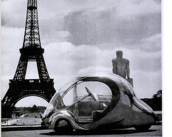 1946 Eiffel Tower French Egg Shaped Car Life Magazine Photo Photograph Black & White Paris Sepia Concept Vehicle Arzens Wall Art Home Decor